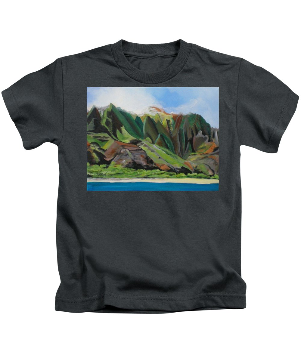 Na Pali Coast Kids T-Shirt featuring the painting Na Pali Cruise by Marionette Taboniar