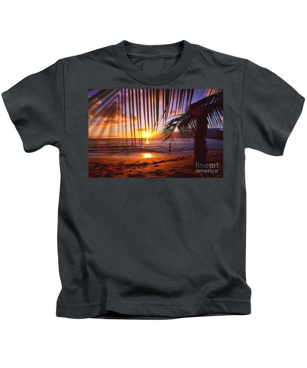 Sunset Kids T-Shirt featuring the photograph Napili Bay Sunset Maui Hawaii by Jim Cazel