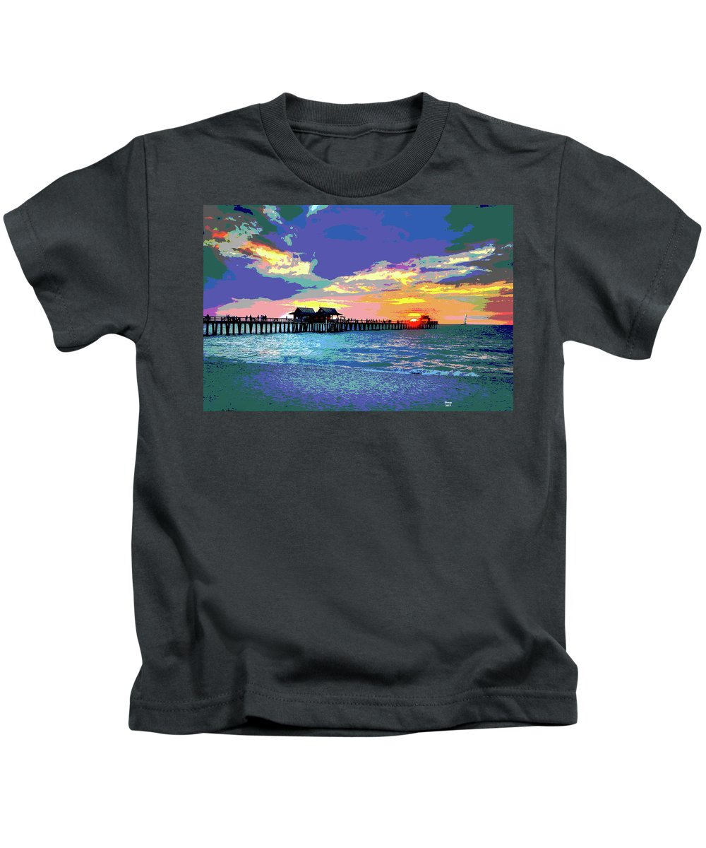 Captain Kimo Kids T-Shirt featuring the mixed media Naples Pier Florida by Charles Shoup