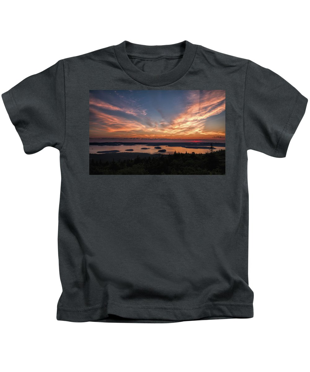 Acadia National Park Kids T-Shirt featuring the photograph National Sunrise by John M Bailey