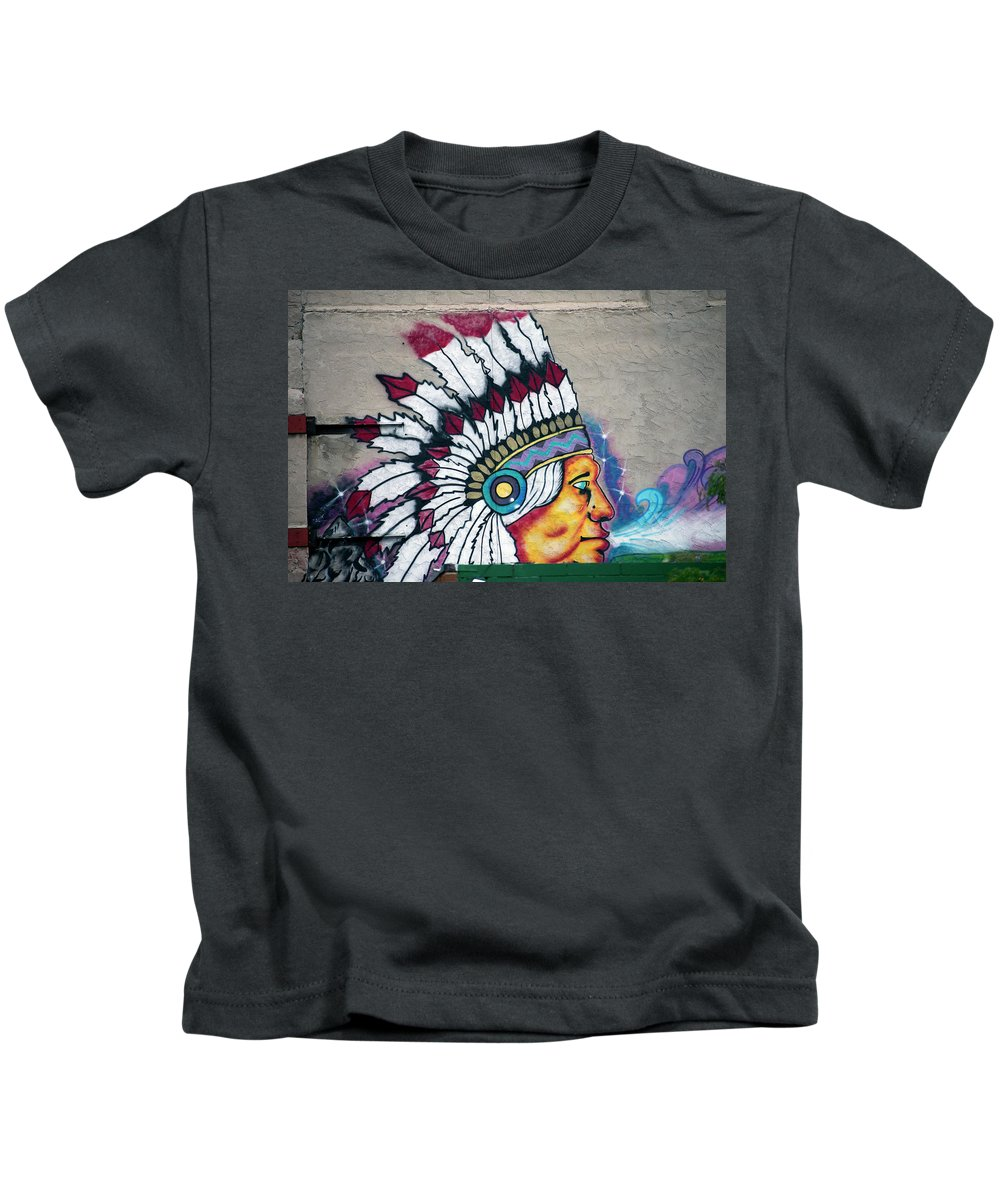 Cheyenne Wyoming Kids T-Shirt featuring the photograph Native American Wall Mural Cheyenne Wyoming by Thomas Woolworth
