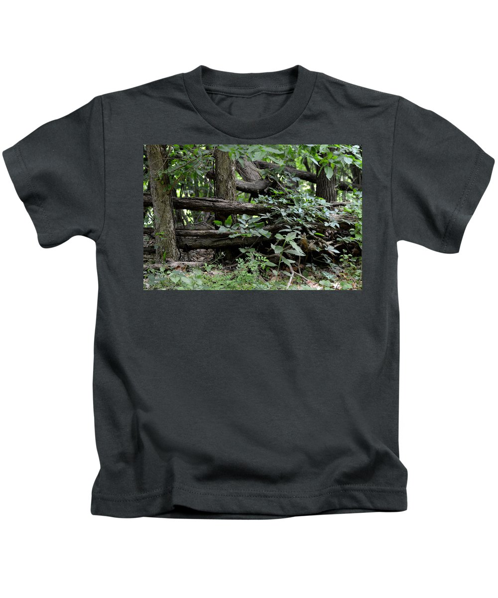 Tree Kids T-Shirt featuring the photograph Natural Wood Fence by Belinda Stucki
