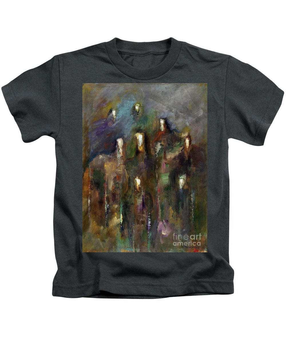 Horses Kids T-Shirt featuring the painting Natural Instincts by Frances Marino