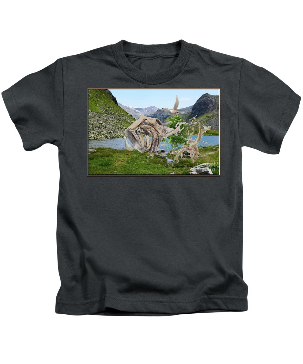 Modern Painting Kids T-Shirt featuring the mixed media Near The Lake 3 by Pemaro