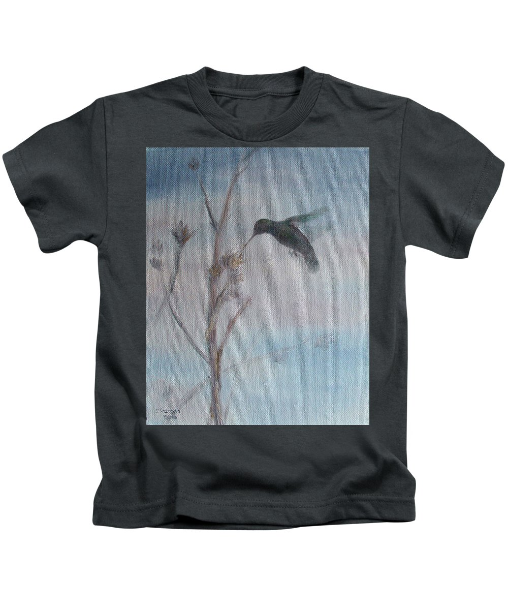 Hummingbird Kids T-Shirt featuring the painting Nectar by Sunny Franson