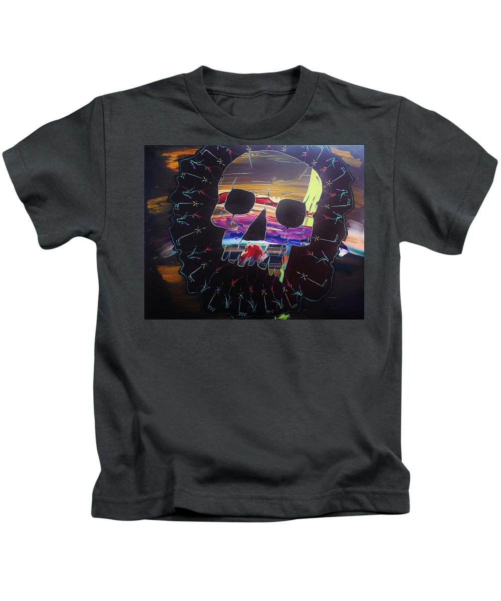 Skulls Kids T-Shirt featuring the painting Negative Relations 8 by David Buschemeyer