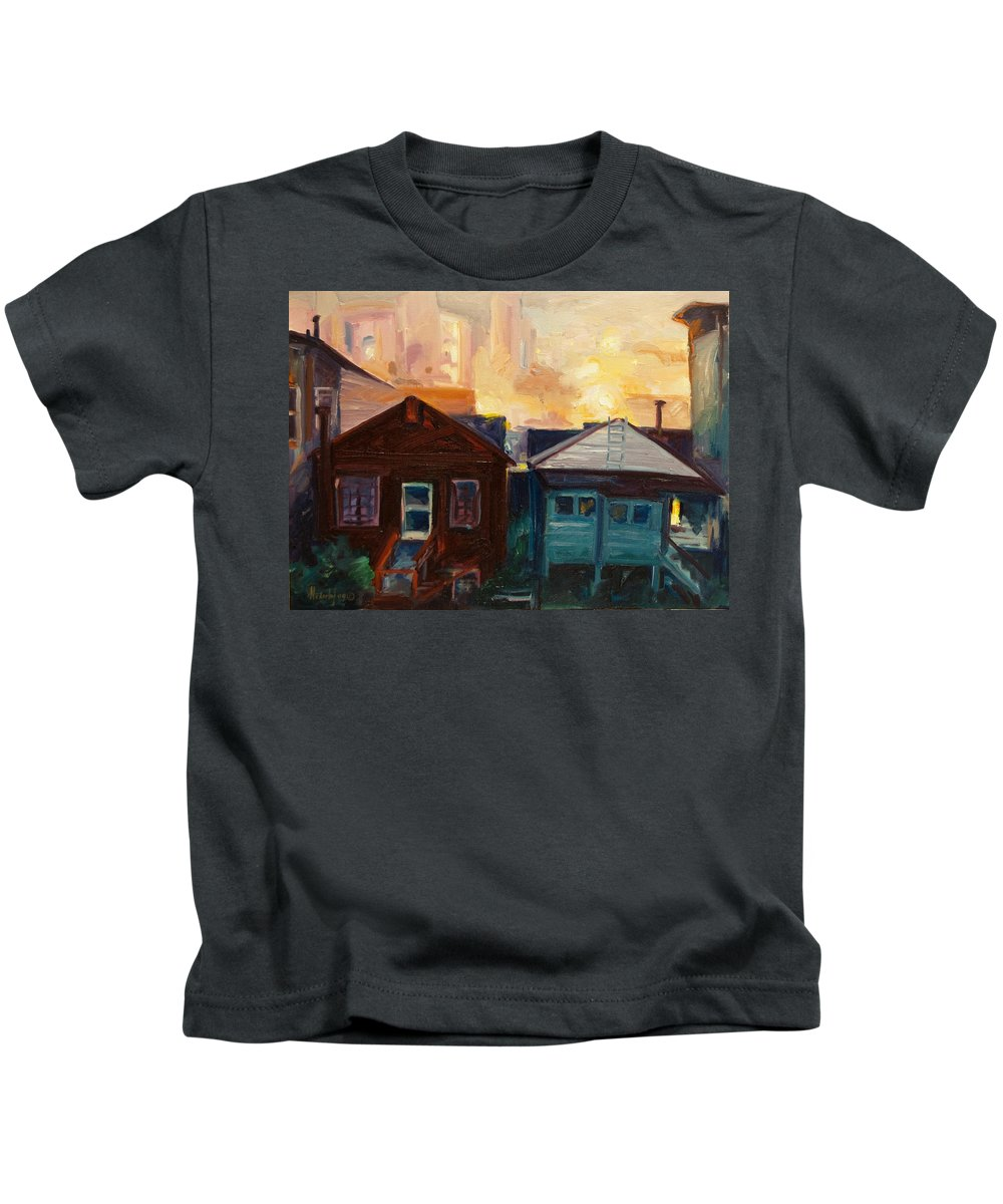 Cityscape Kids T-Shirt featuring the painting Neighbors by Rick Nederlof