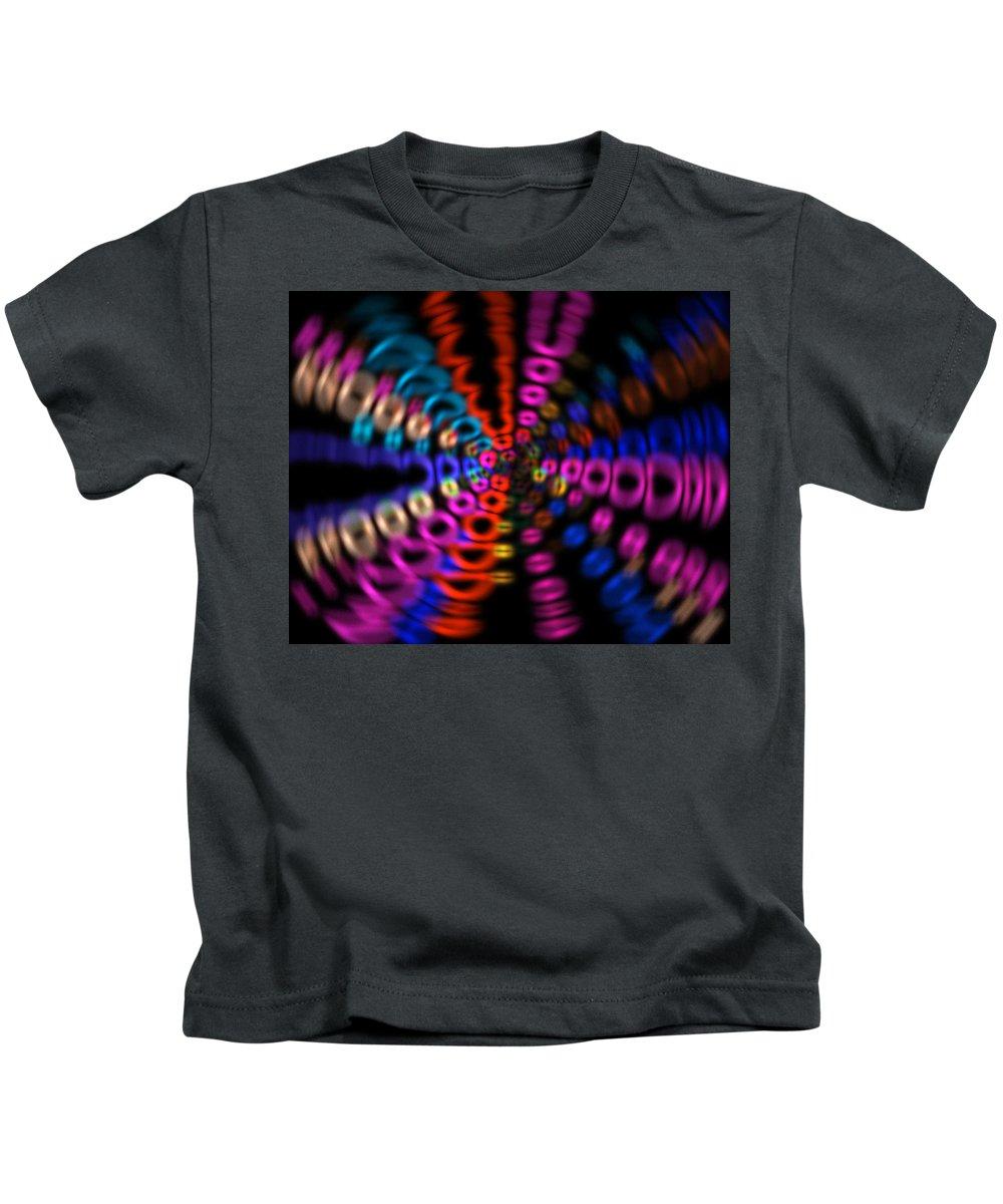 Digital Art Kids T-Shirt featuring the digital art Neon Rave Blur by David Stasiak