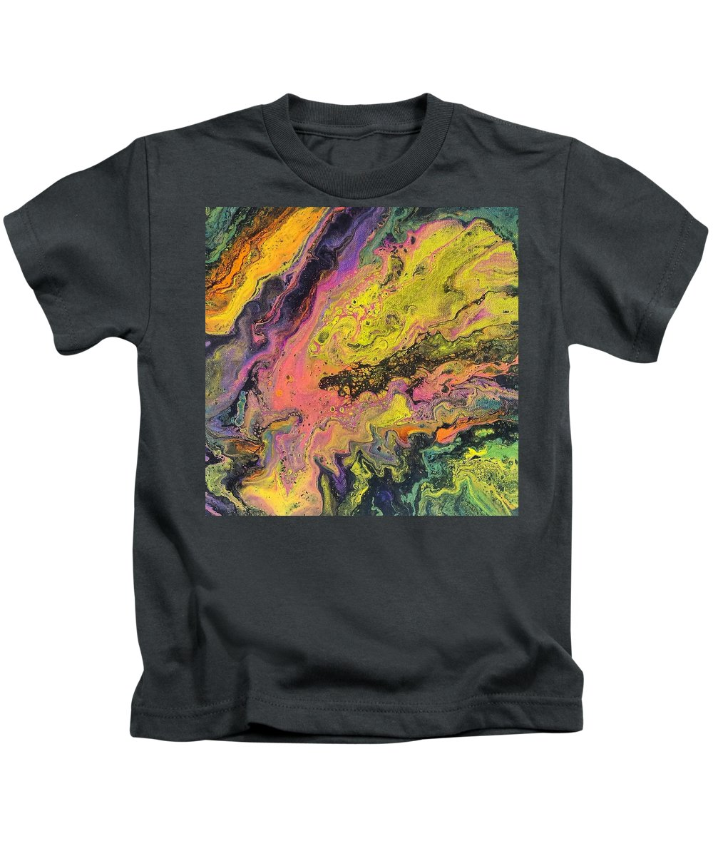 Kids T-Shirt featuring the painting Neon Swirl by Christina Martin