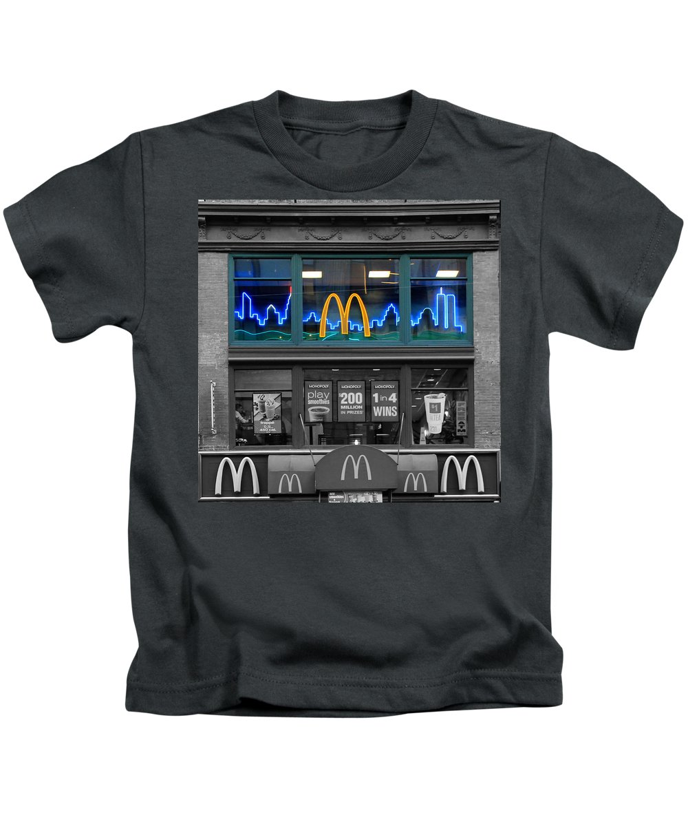 World Trade Center Kids T-Shirt featuring the photograph Neon Twin Towers by Andrew Fare