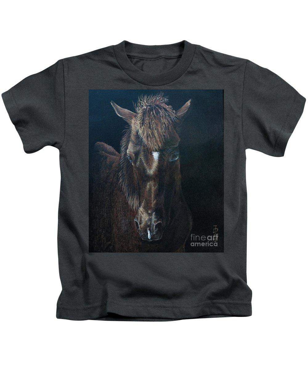 Portrait Kids T-Shirt featuring the painting Nervous Colt Milltown Fair by Pauline Sharp