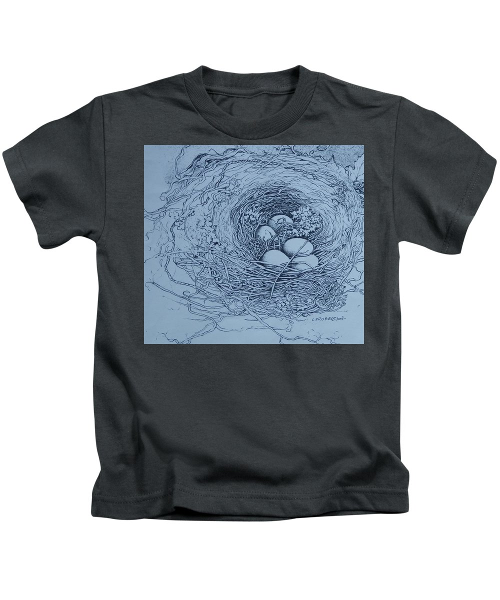 Nest Birds Eggs Wildlife Outdoors Spring Drawing Kids T-Shirt featuring the drawing New Home, New Family by Catherine Robertson