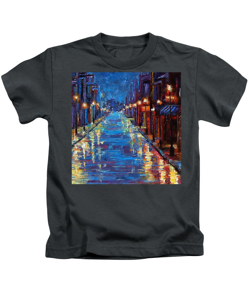 Cityscape Kids T-Shirt featuring the painting New Orleans Bourbon Street by Debra Hurd