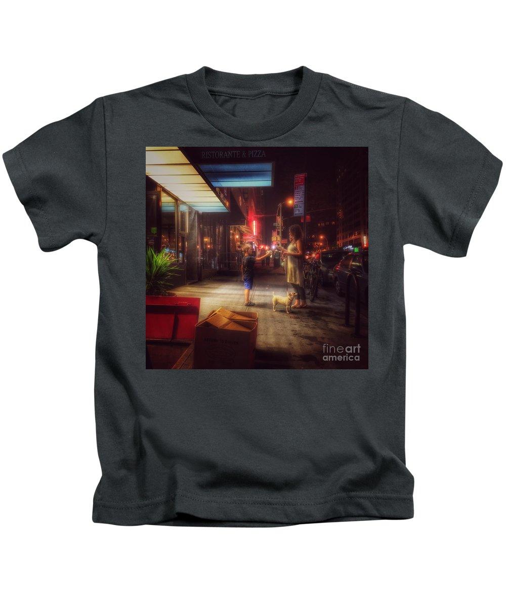 New York Summer Nights Kids T-Shirt featuring the photograph New York Summer Nights by Miriam Danar