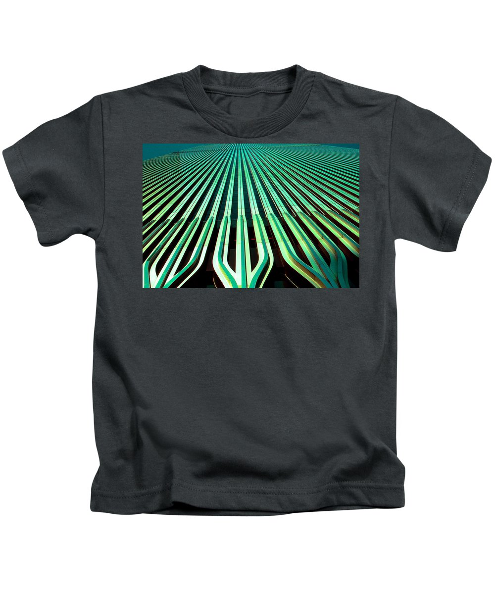New+york Kids T-Shirt featuring the photograph New York World Trade Center Facade Before 911 by Peter Potter