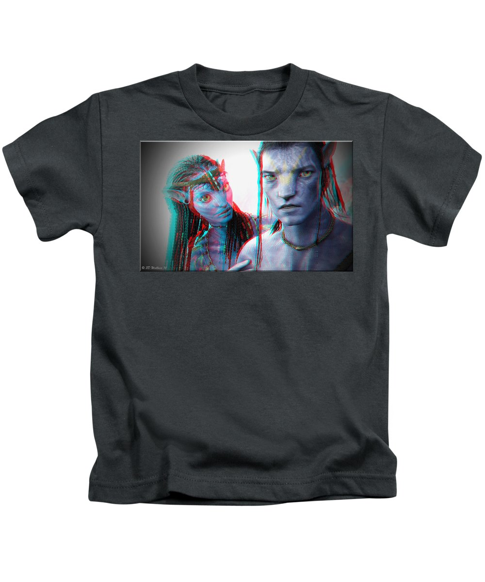 3d Kids T-Shirt featuring the photograph Neytiri And Jake Sully - Use Red-cyan 3d Glasses by Brian Wallace
