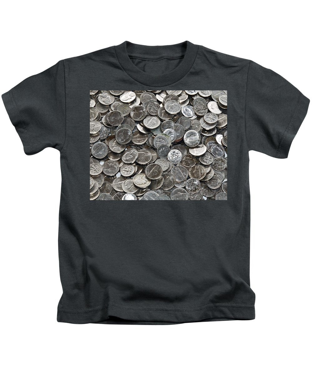 Nickel; Dime; Nickeled; Dimed; Coins; Currency; Silver; Five; Ten; Cents; Change; Cent; Piece; Dolla Kids T-Shirt featuring the photograph Nickeled And Dimed by Allan Hughes