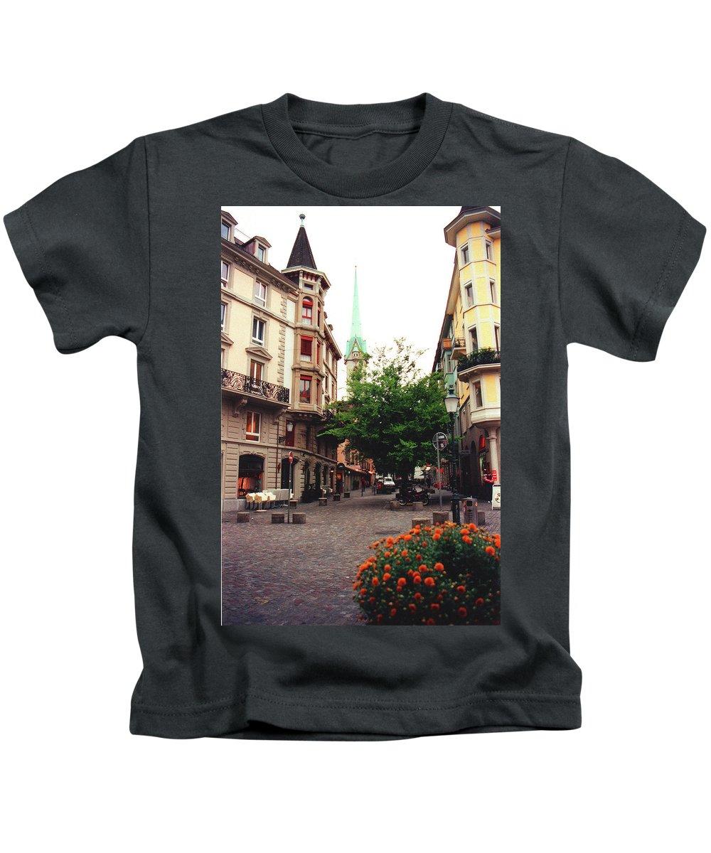 Niederdorf Kids T-Shirt featuring the photograph Niederdorf Square In Zurich Switzerland by Susanne Van Hulst