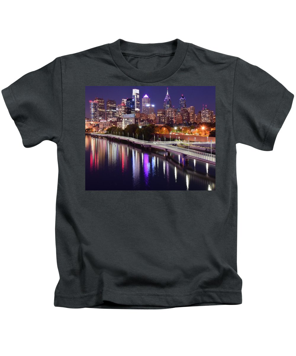 Philadelphia Kids T-Shirt featuring the photograph Night Lights At Rivers Edge by Skyline Photos of America