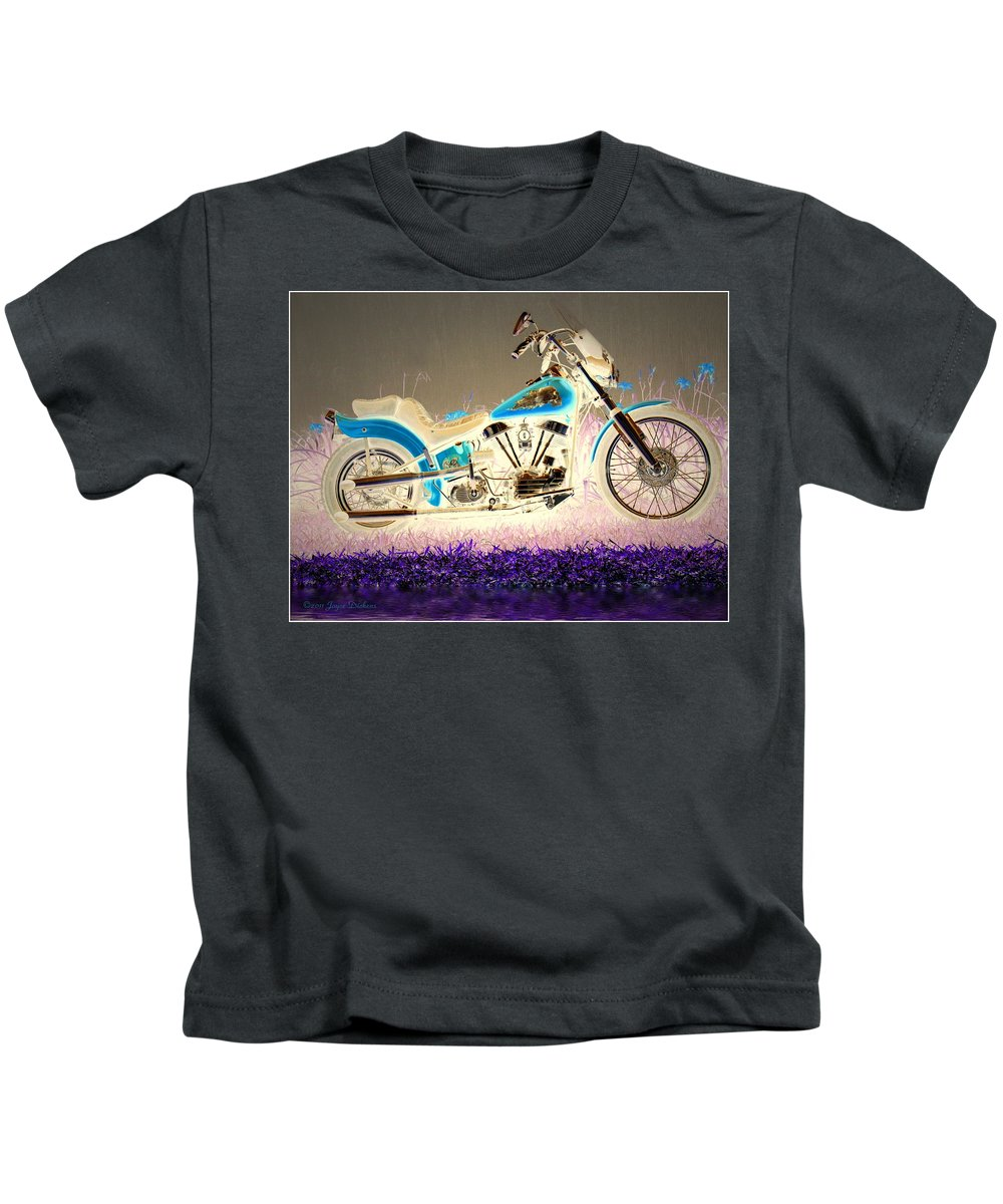 Motorcycle Kids T-Shirt featuring the photograph Night Rider by Joyce Dickens