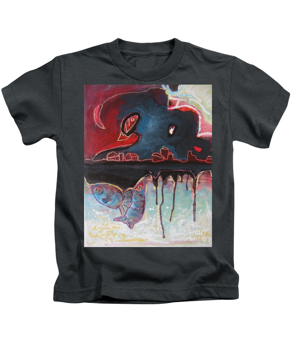 Abstract Paintings Kids T-Shirt featuring the painting Nipper by Seon-Jeong Kim