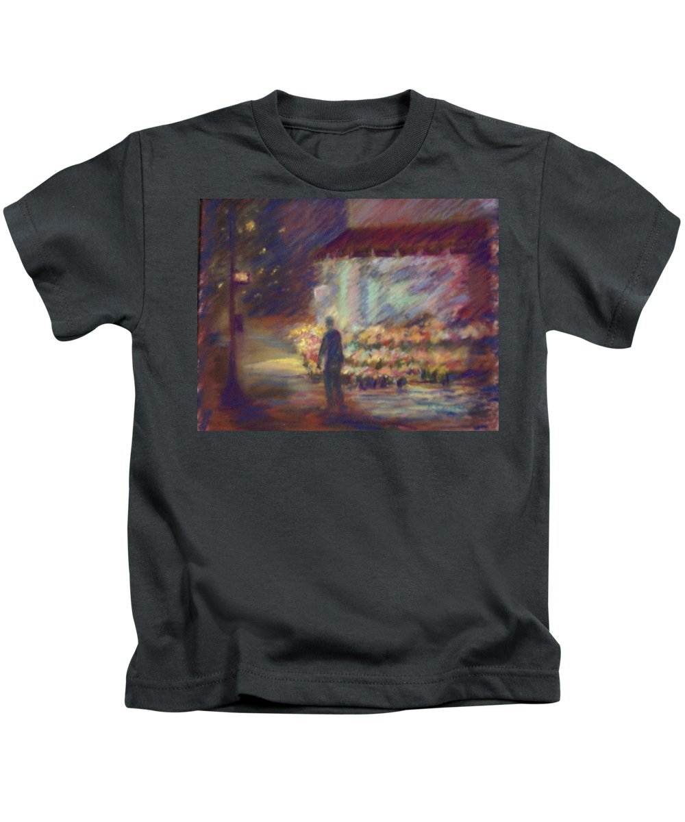 Laandscape Kids T-Shirt featuring the pastel Nite Flower Market by Pat Snook