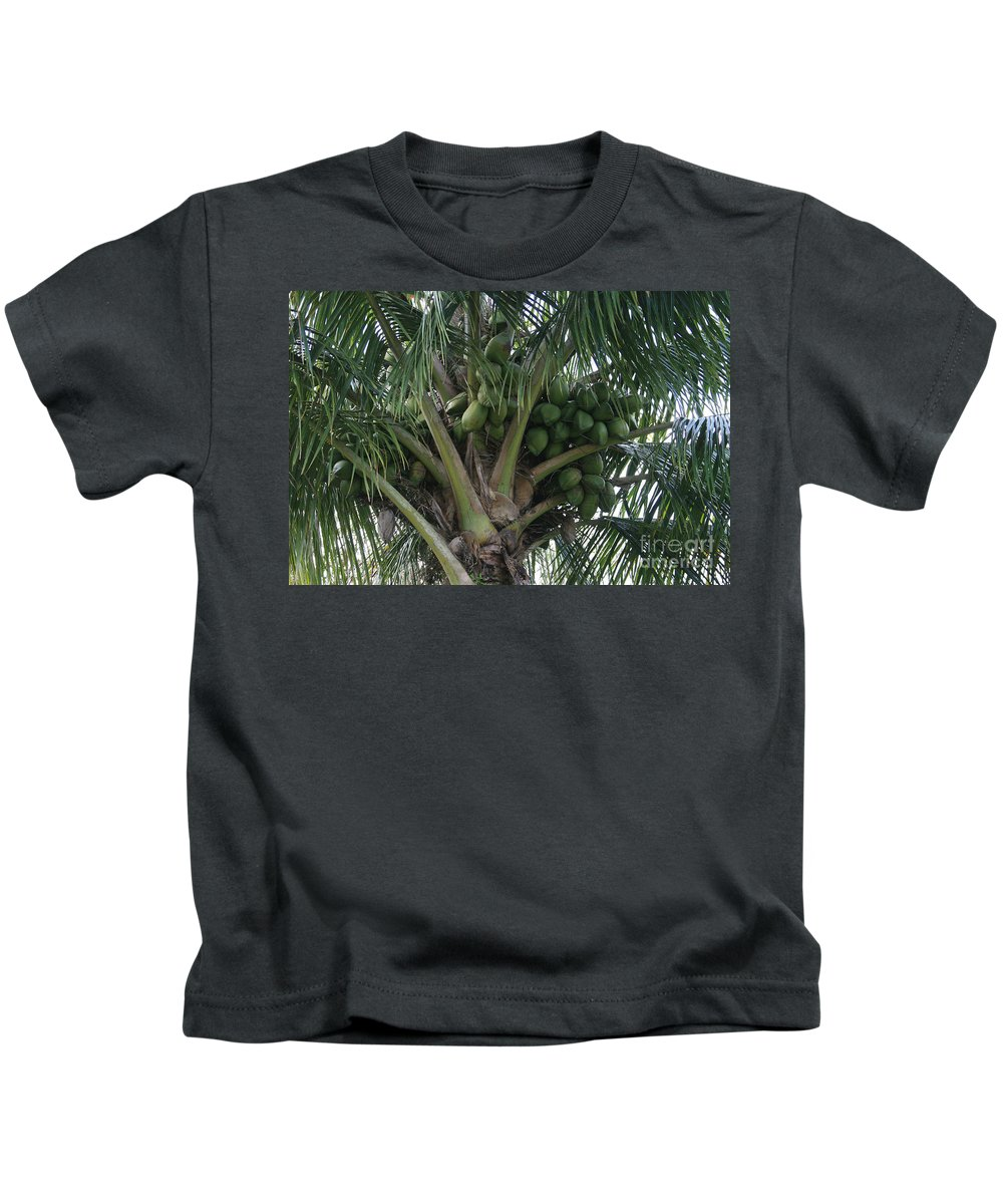 Aloha Kids T-Shirt featuring the photograph Niu Ola Hiki Coconut Palm by Sharon Mau
