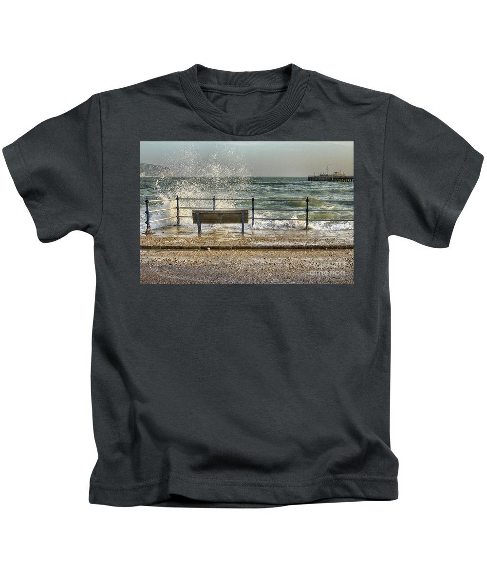 Seascape Kids T-Shirt featuring the photograph No View Today by Linsey Williams