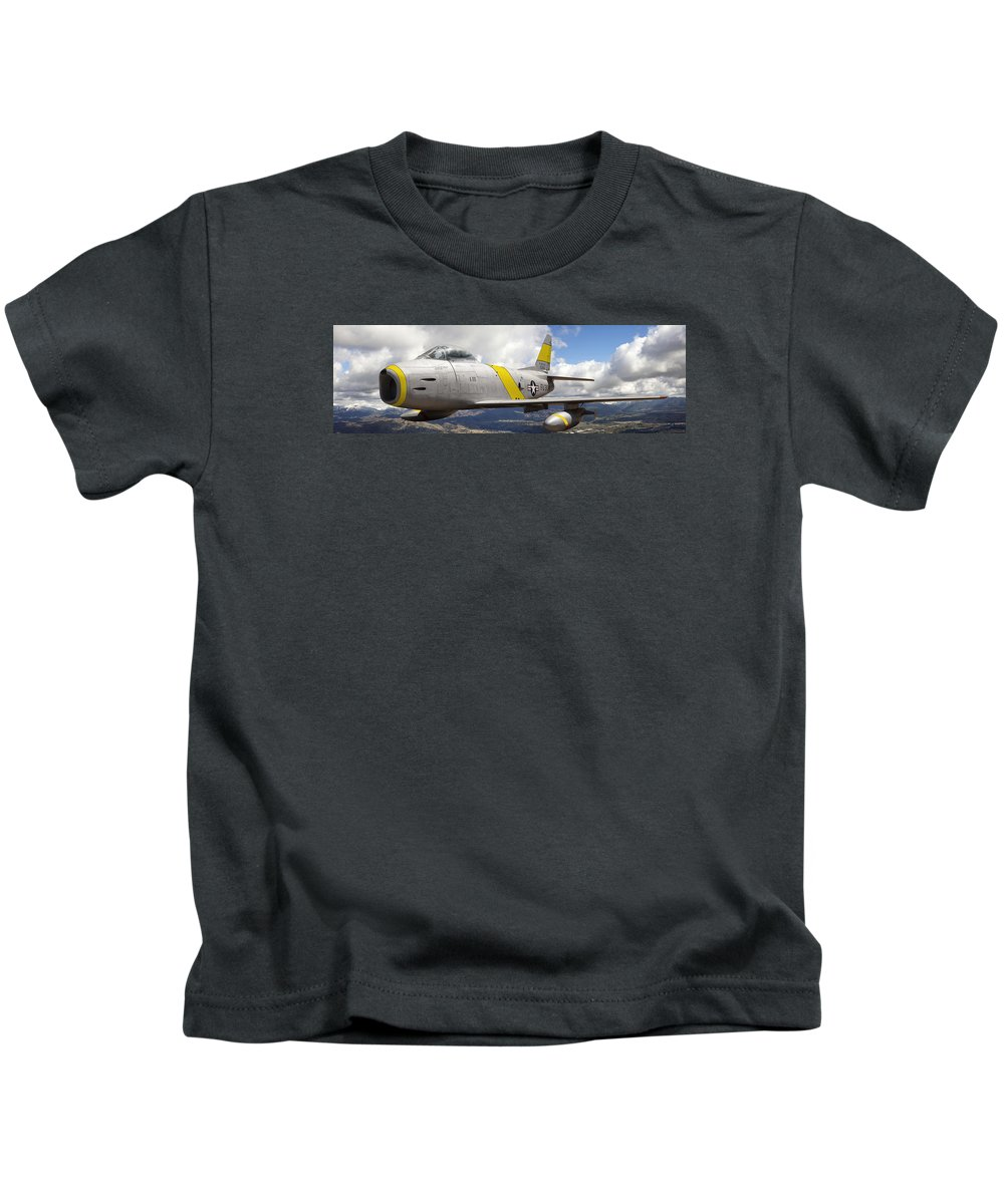 F-86 Sabre Kids T-Shirt featuring the photograph North American F-86 Sabre by Larry McManus