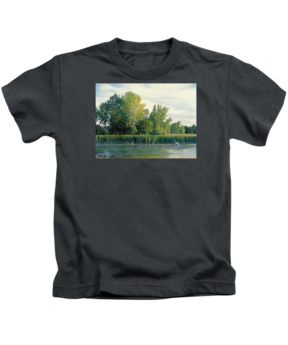 Great Egret Kids T-Shirt featuring the drawing North of the Grade-Great Egret by Bruce Morrison