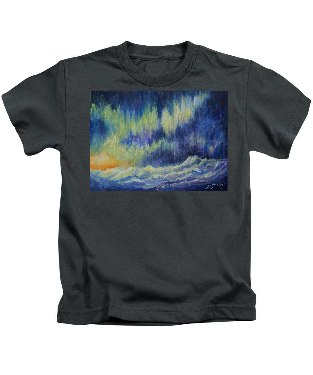 Northern Lights Kids T-Shirt featuring the painting Northern Experience by Joanne Smoley