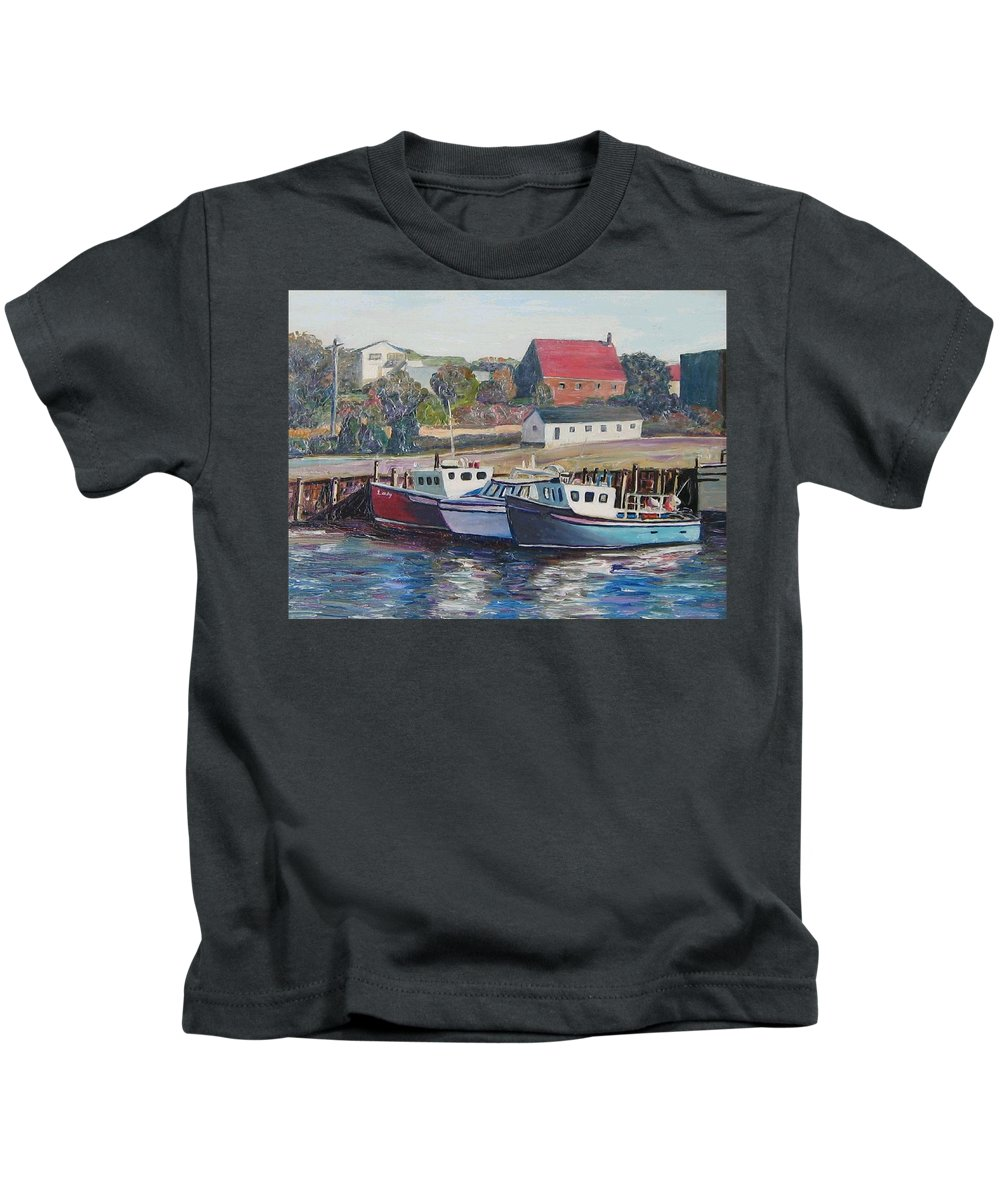 Nova Scotia Kids T-Shirt featuring the painting Nova Scotia Boats by Richard Nowak