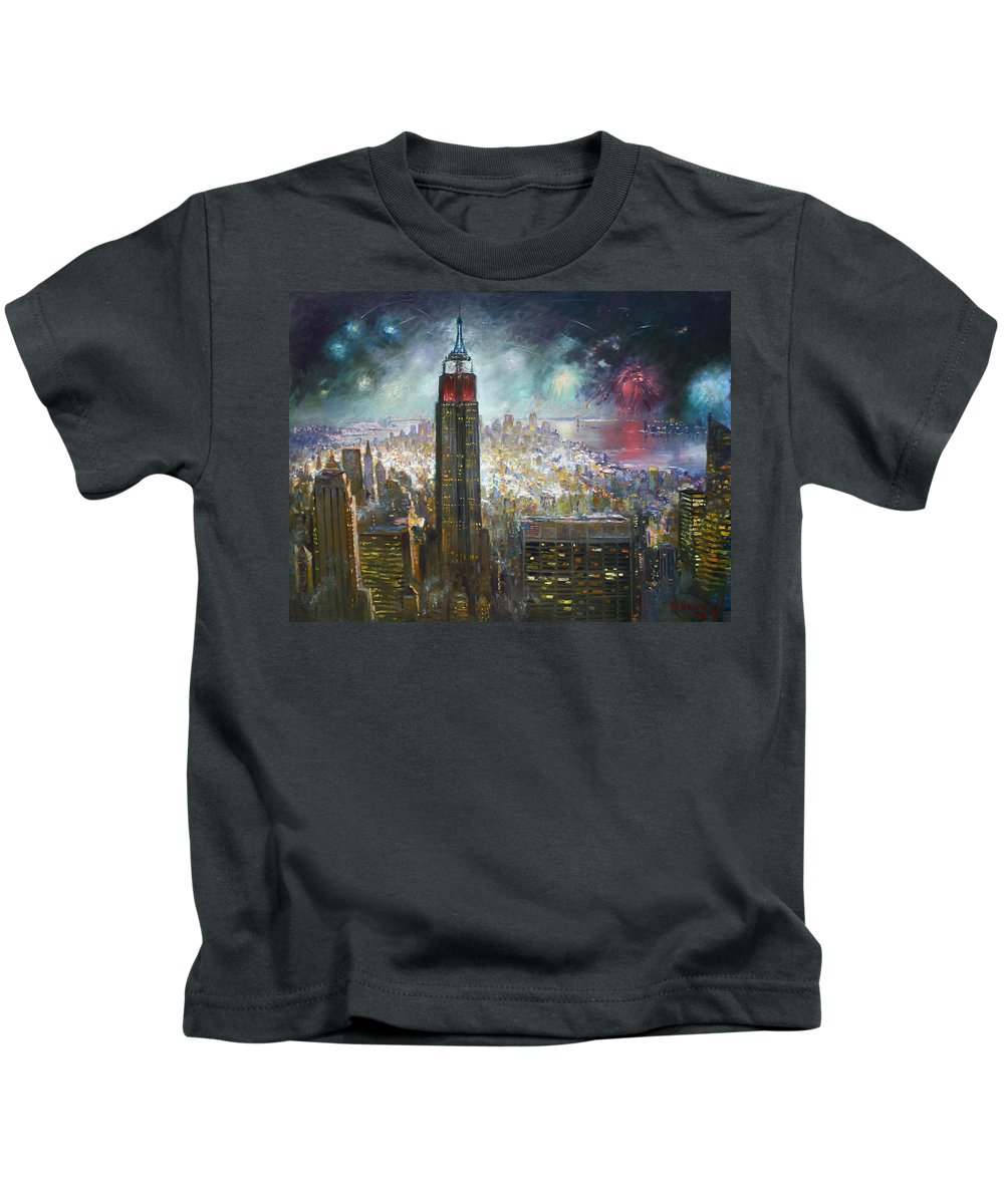Landscape Kids T-Shirt featuring the painting Nyc. Empire State Building by Ylli Haruni