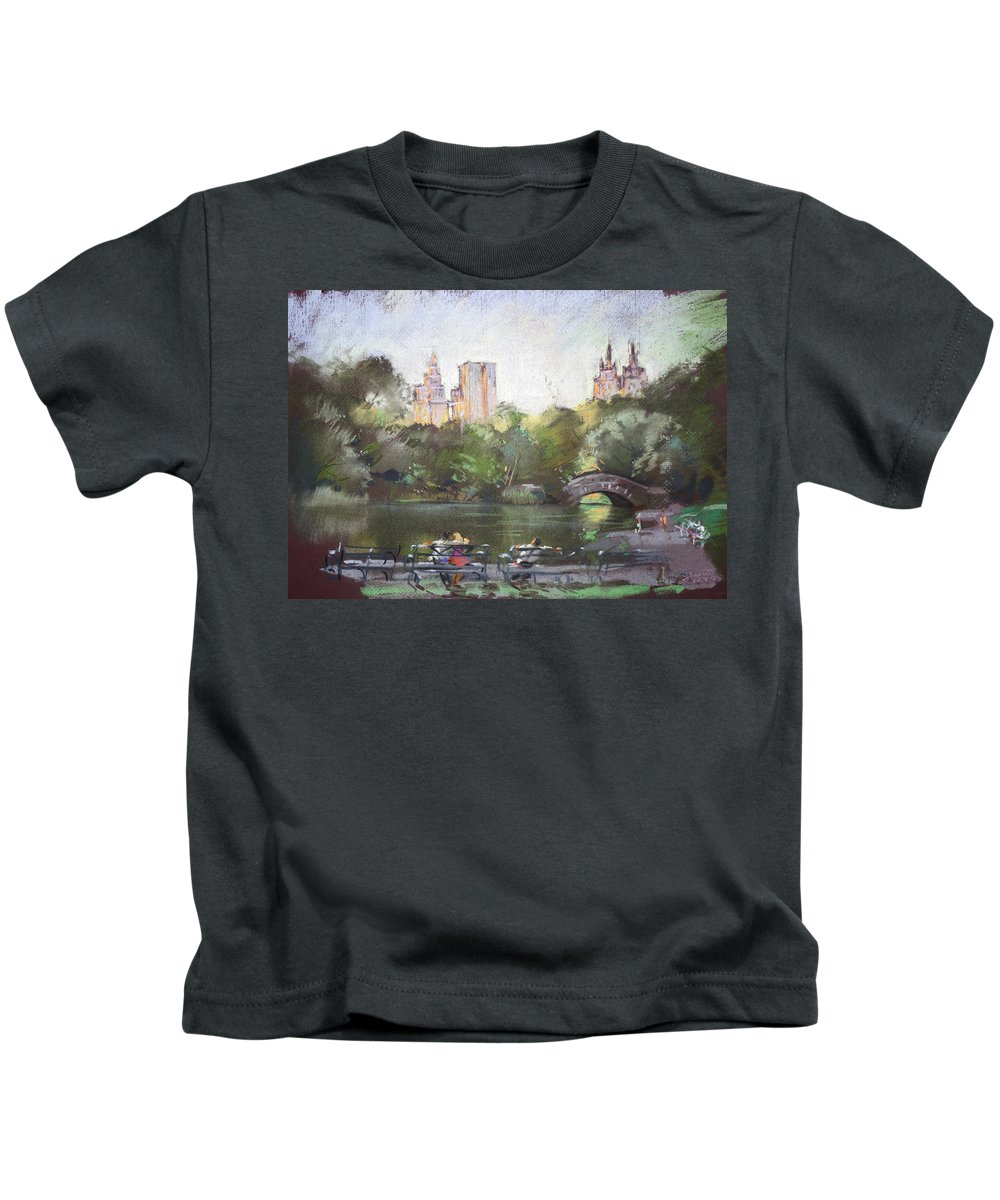 Ny City Kids T-Shirt featuring the pastel Nyc Resting In Central Park by Ylli Haruni