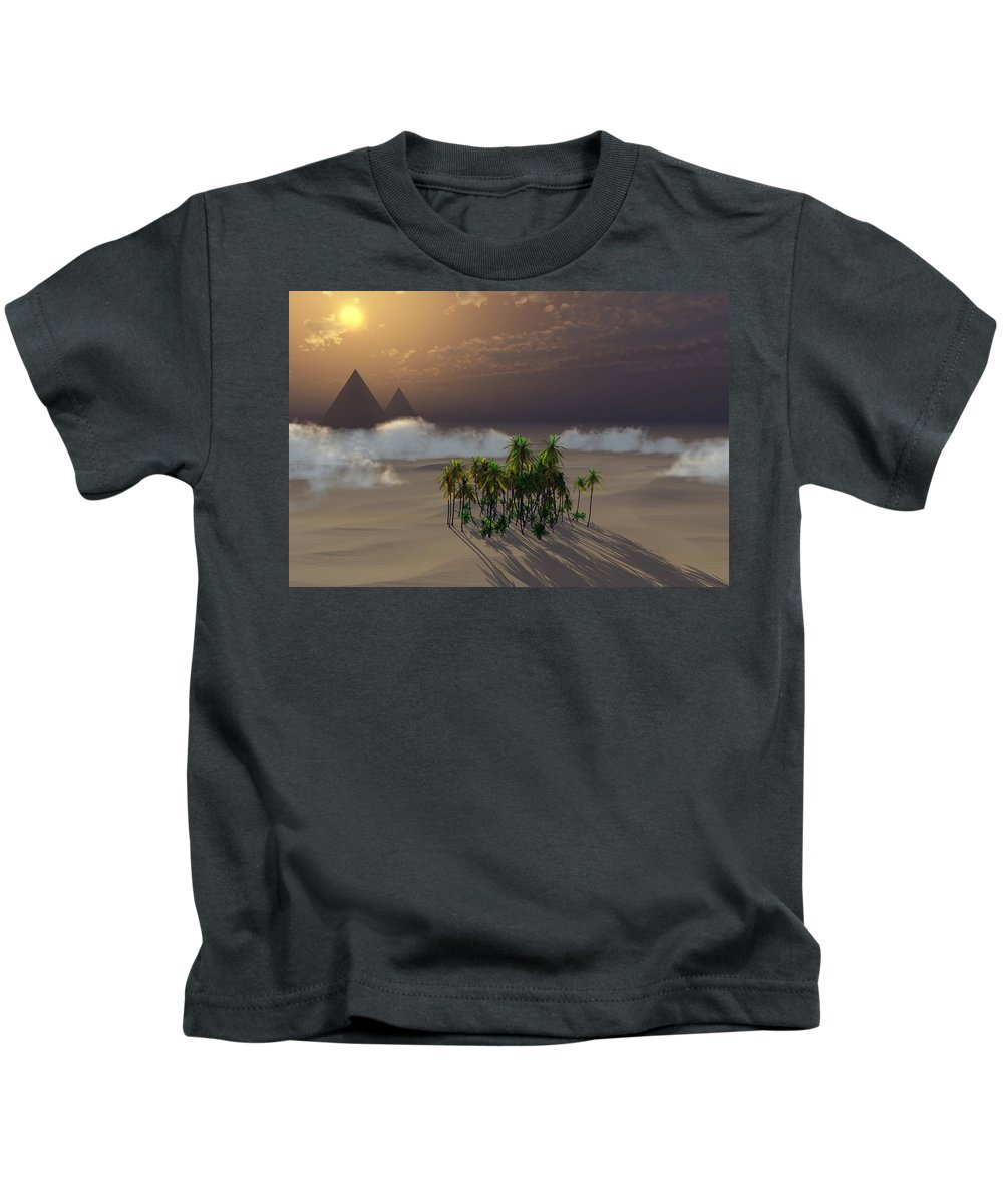 Deserts Kids T-Shirt featuring the digital art Oasis by Richard Rizzo