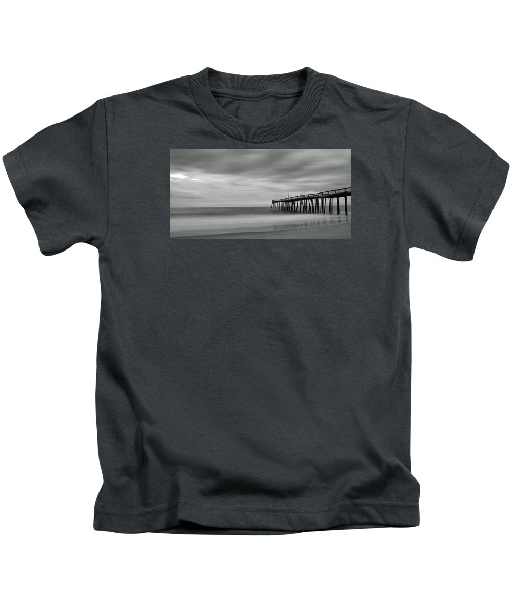 Ocean Kids T-Shirt featuring the photograph Ocean City Pier 1 Bw by Don Keisling