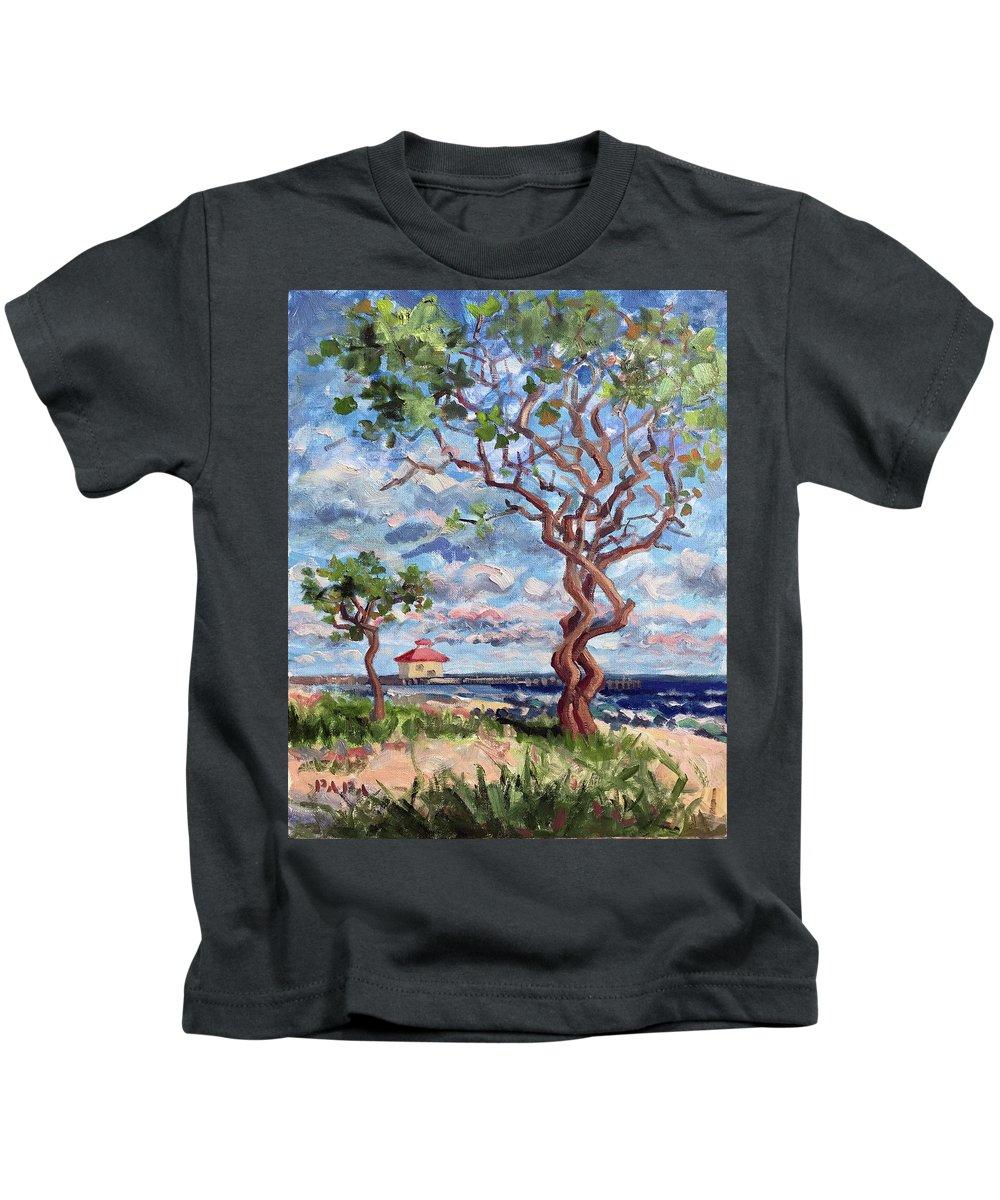 Ocean Ridge Kids T-Shirt featuring the painting Ocean Ridge 2017 by Ralph Papa