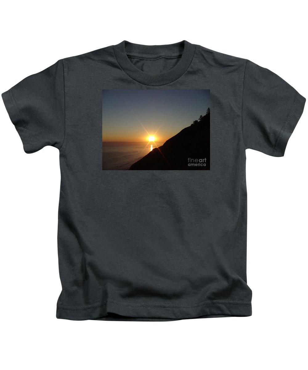Sunset Kids T-Shirt featuring the photograph Ocean Sunset by Cassandra Geernaert
