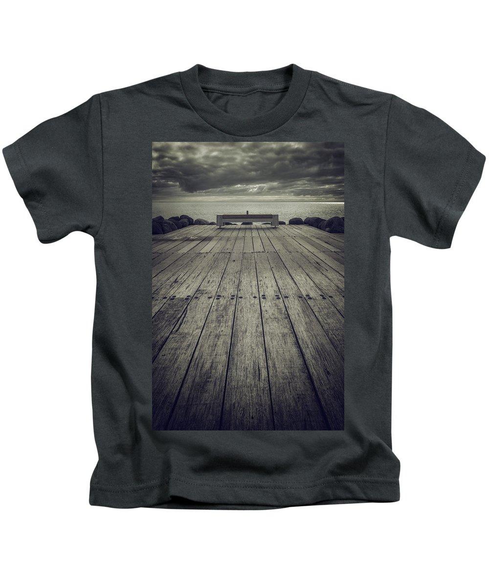 Mono Kids T-Shirt featuring the photograph Ocean View Bench by Russ Dixon