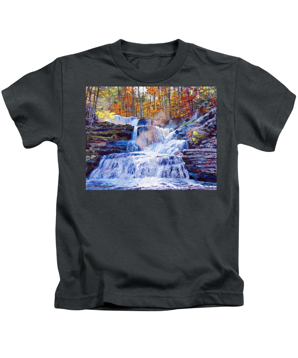 Impressionism Kids T-Shirt featuring the painting October Falls by David Lloyd Glover