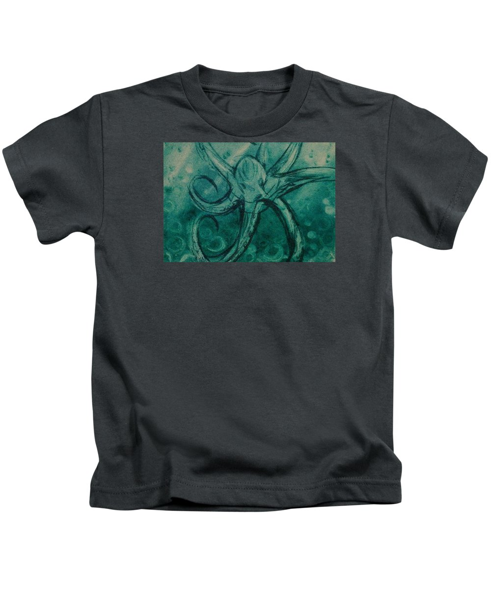 Drypoint Etching Octopus Sea Turquoise Kids T-Shirt featuring the drawing Octopus by Sylvie Boersma