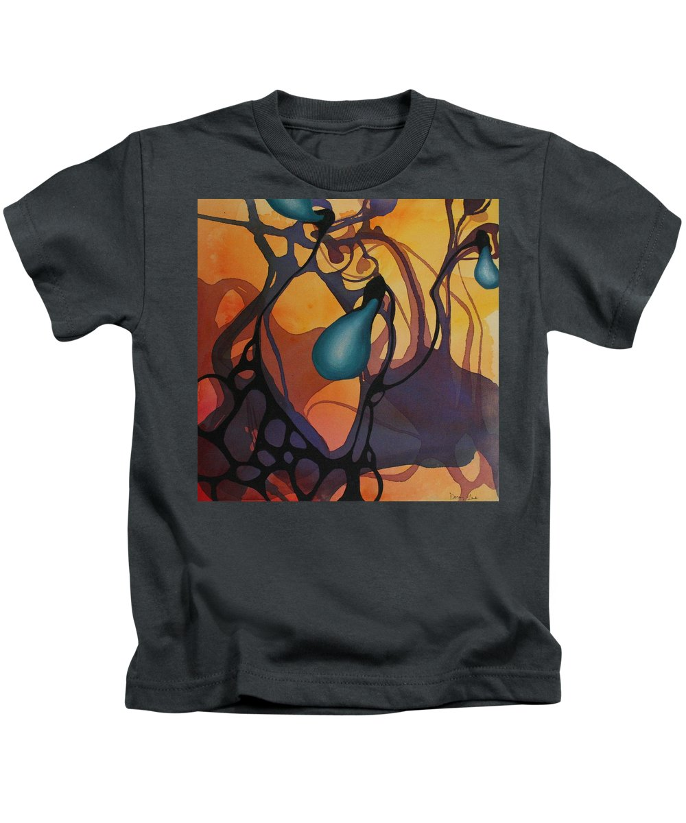 Non Representational Kids T-Shirt featuring the painting Off Stepping by Darcy Lee Saxton