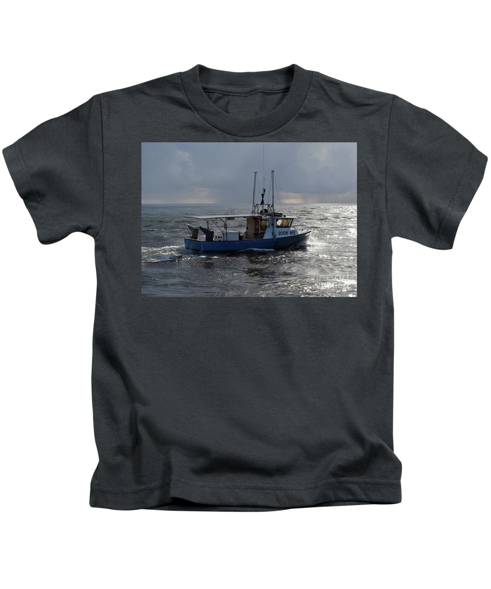 Boat Kids T-Shirt featuring the photograph Off To Work by William Tasker
