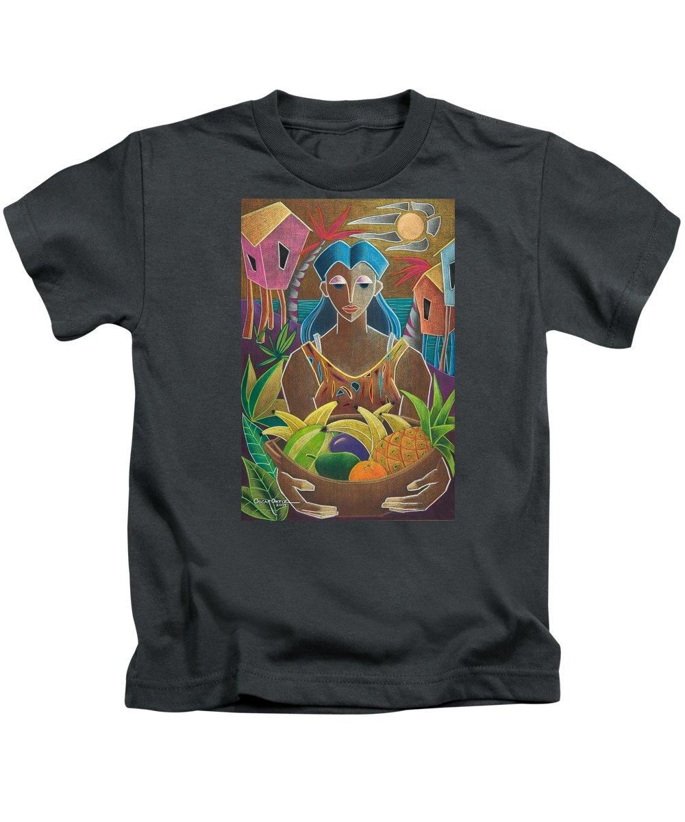 Female Kids T-Shirt featuring the painting Ofrendas de mi tierra by Oscar Ortiz