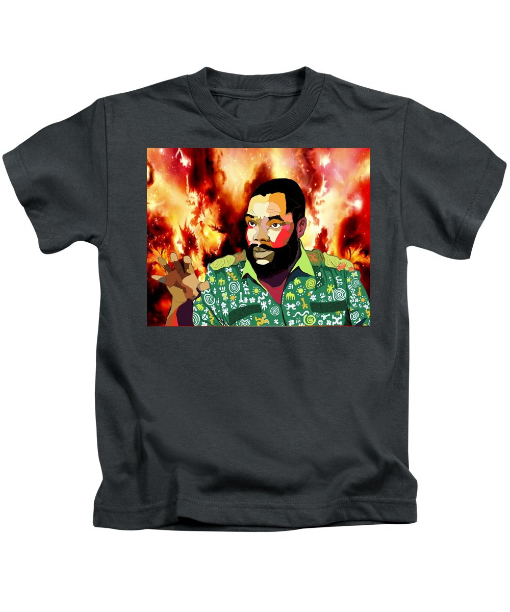 Ojukwu Portrait Kids T-Shirt featuring the digital art Ojukwu by Richard Elekwa