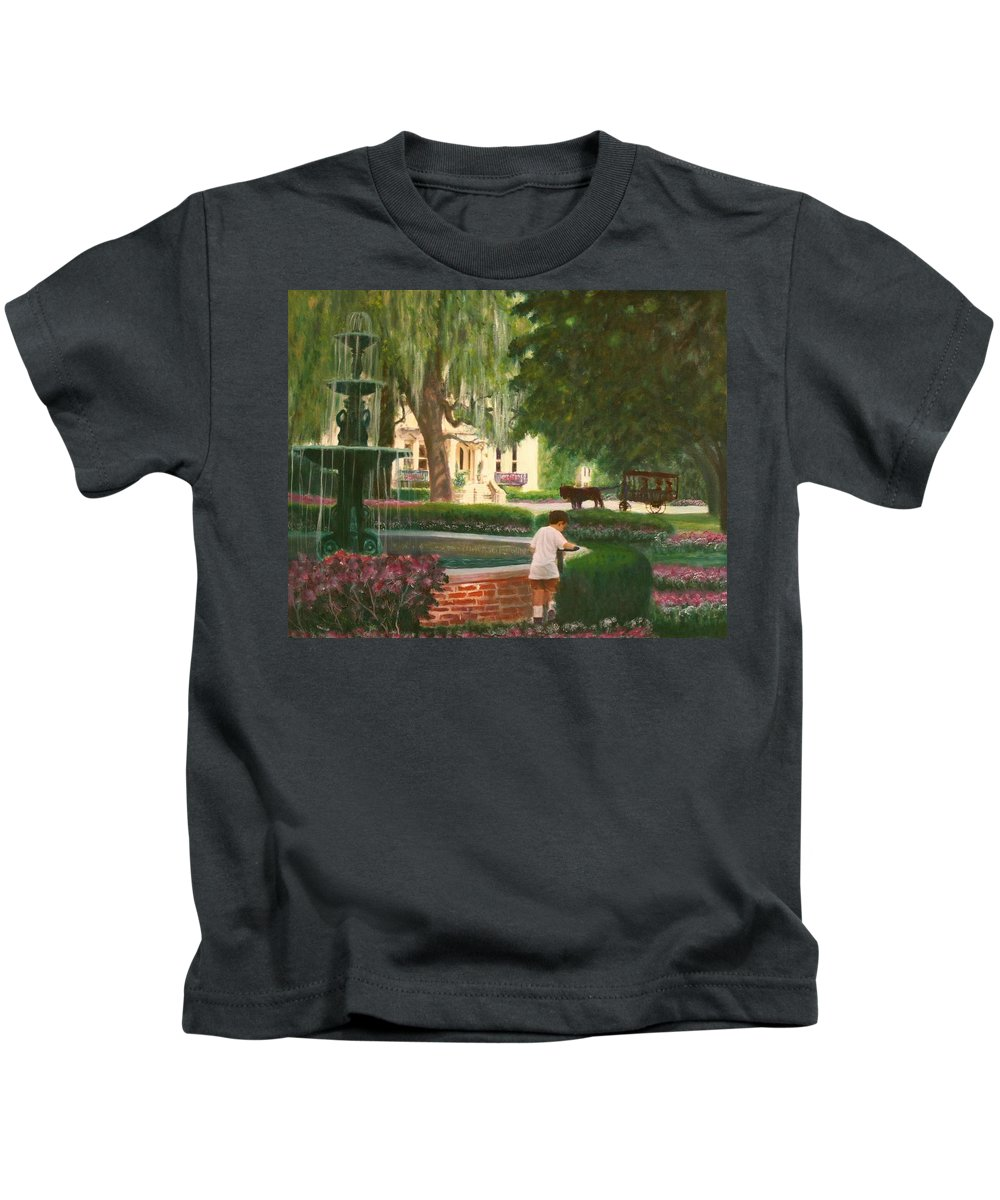 Savannah; Fountain; Child; House Kids T-Shirt featuring the painting Old And Young Of Savannah by Ben Kiger