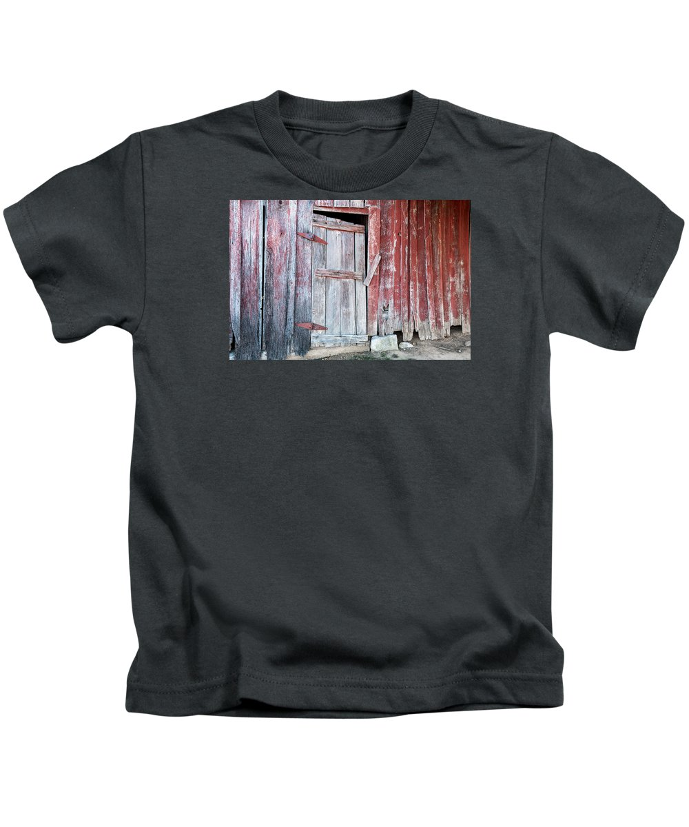 Door Kids T-Shirt featuring the photograph Old Barn Door by Carlton Cates