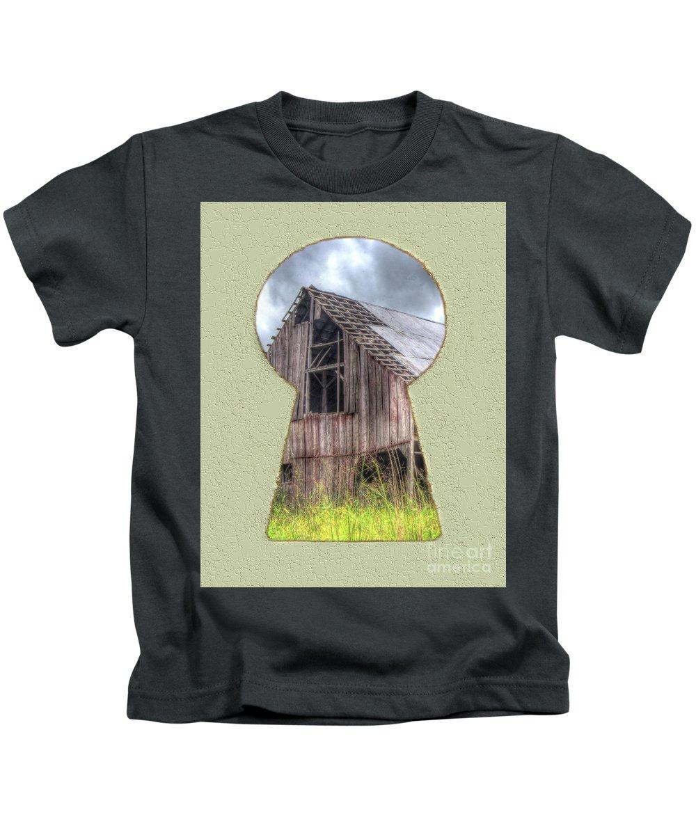 Barn Kids T-Shirt featuring the digital art Old Barn Keyhole by Steve Edwards