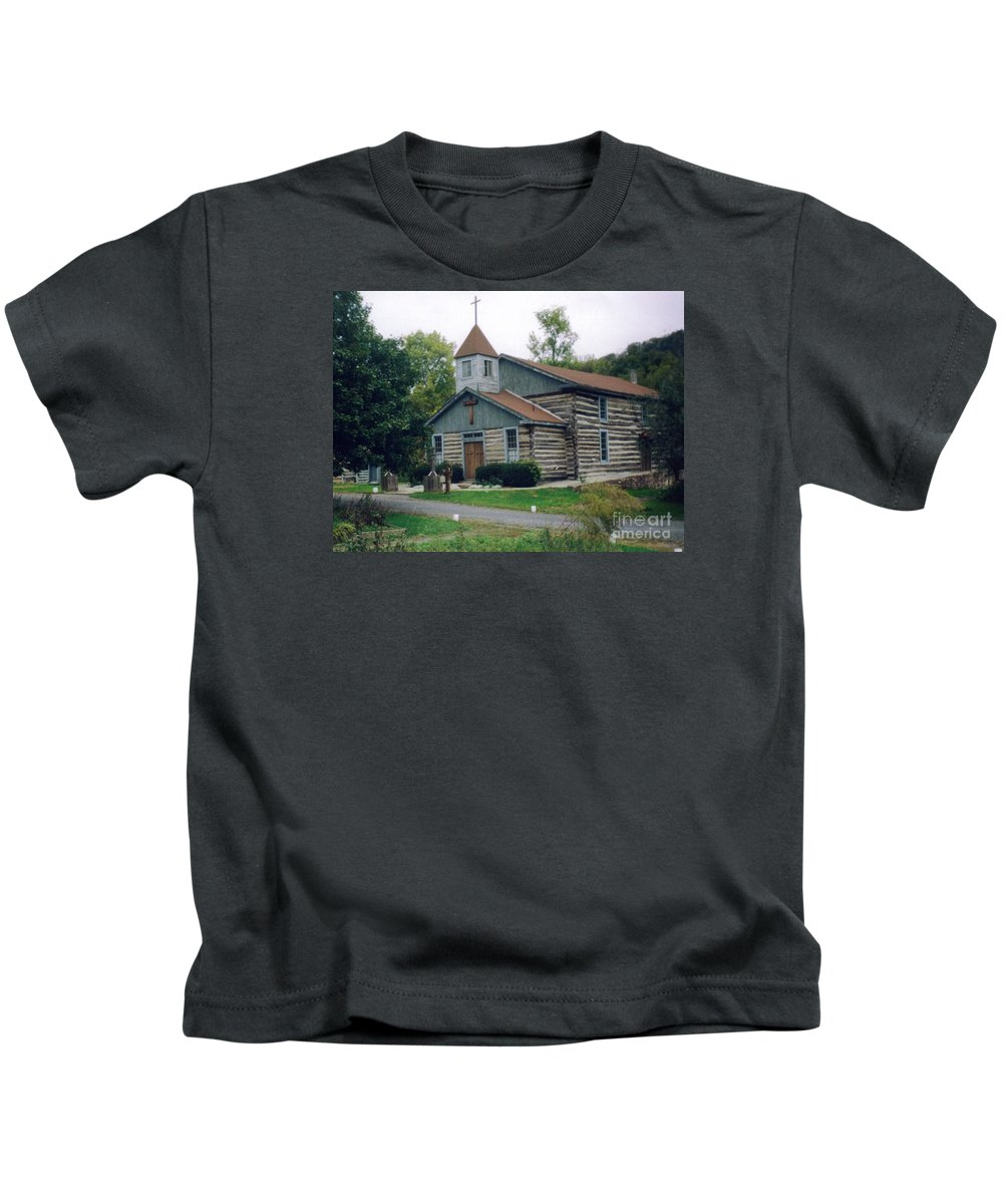Old Country Church Prints Kids T-Shirt featuring the photograph Old Country Church by Ruth Housley