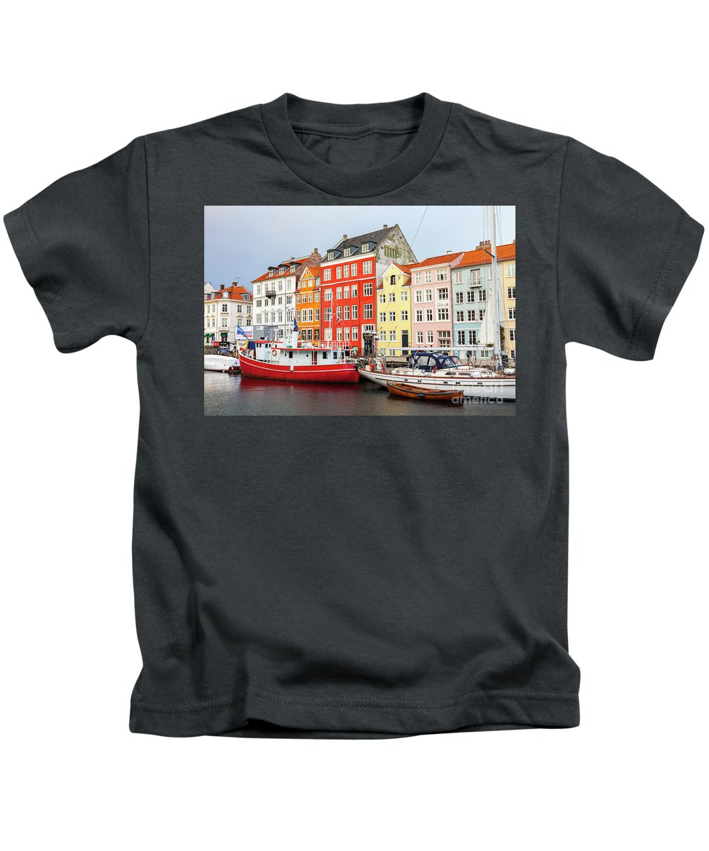 Christmas Kids T-Shirt featuring the photograph Old Harbour In Copenhagen by Sophie McAulay